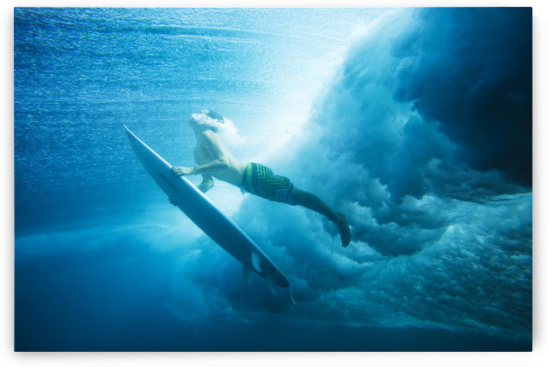 Indonesia, Bali, Surfer Duck Dives Under Wave, View From Underwater by PacificStock