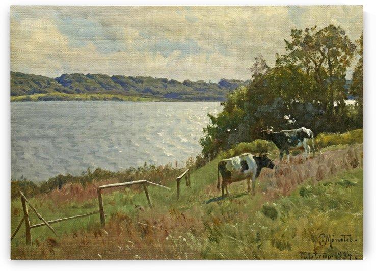 Sommarlandskap med kor, 1934 by Peter Mork Monsted
