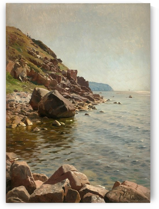 A couple taking a walk along the sea coast by Peter Mork Monsted