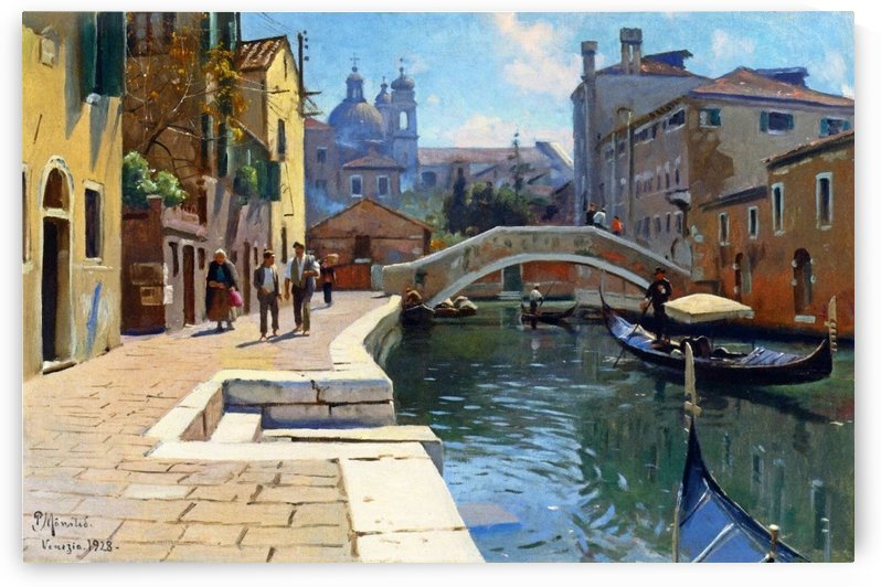 Canal in Venice with figures returning from market by Peter Mork Monsted