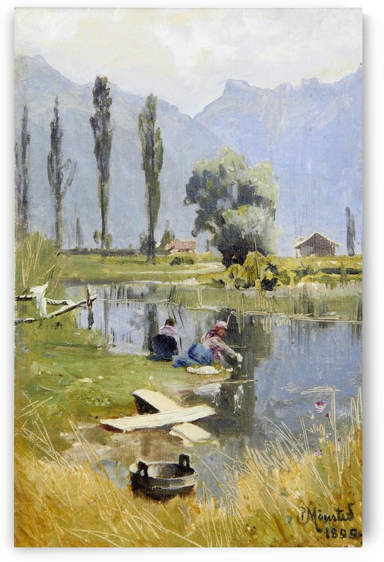Women washing in the lake near forest by Peter Mork Monsted