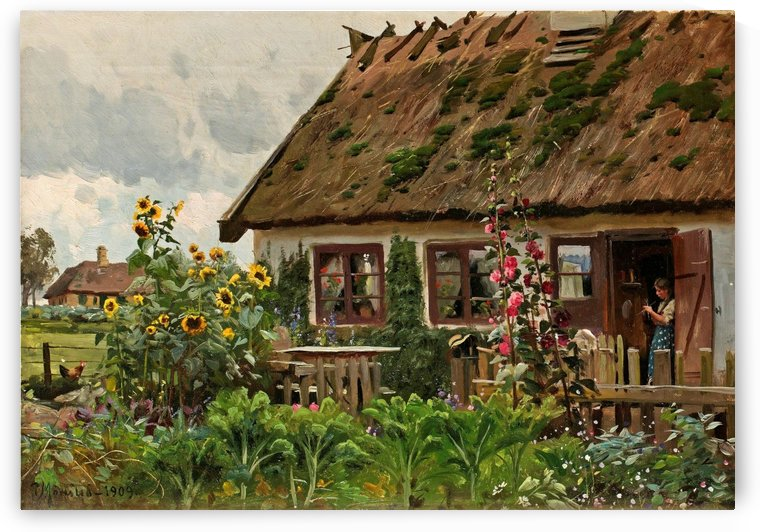 Girl who knits at the entrance door of a house by Peter Mork Monsted