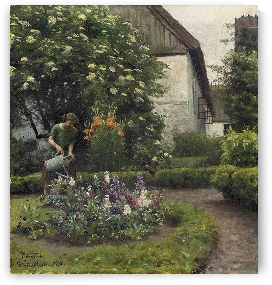 Girl watering the garden by Peter Mork Monsted