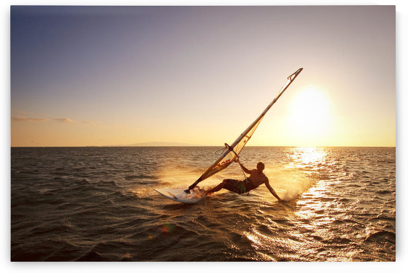 Hawaii, Maui, Kihei, Windsurfer Sailing Off The Coast Of South Maui At Sunset. by PacificStock
