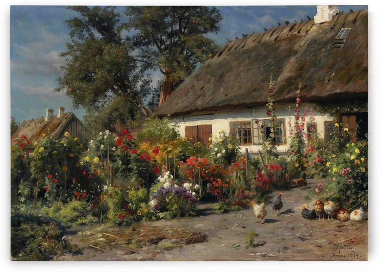 A cottage garden with chickens by Peter Mork Monsted