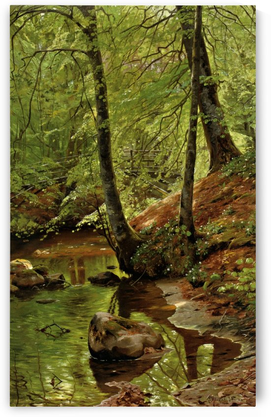 Landscape with a bridge crossing a river in the forest by Peter Mork Monsted