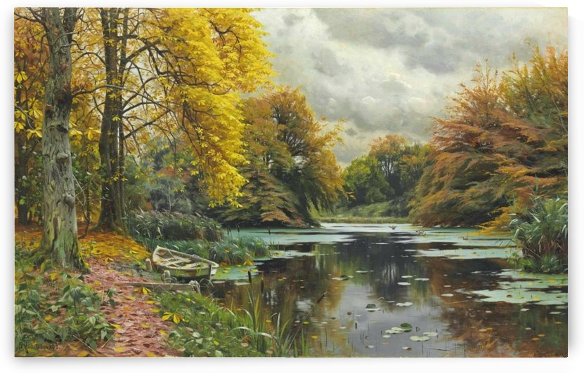 Landscape with small boat and trees along the stream by Peter Mork Monsted