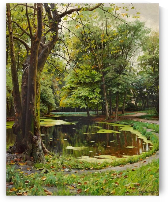 A lake in a park with chestnut trees by Peter Mork Monsted