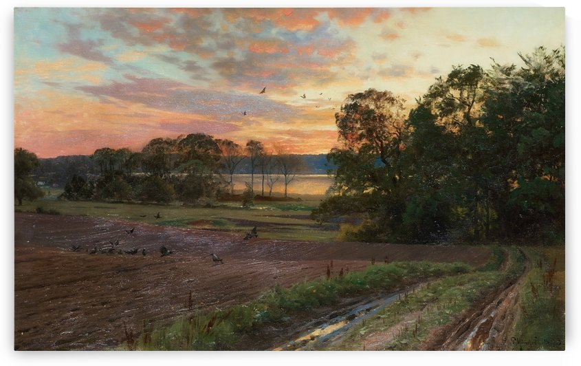 Landscape with setting sun, 1893 by Peter Mork Monsted