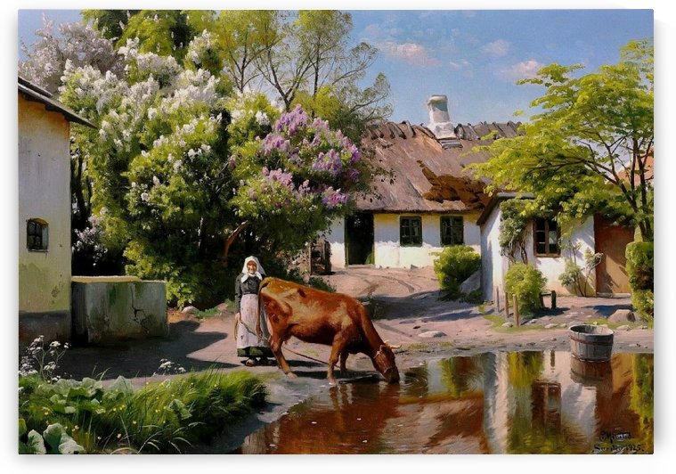 Watering the cow in the village pond, 1925 by Peter Mork Monsted