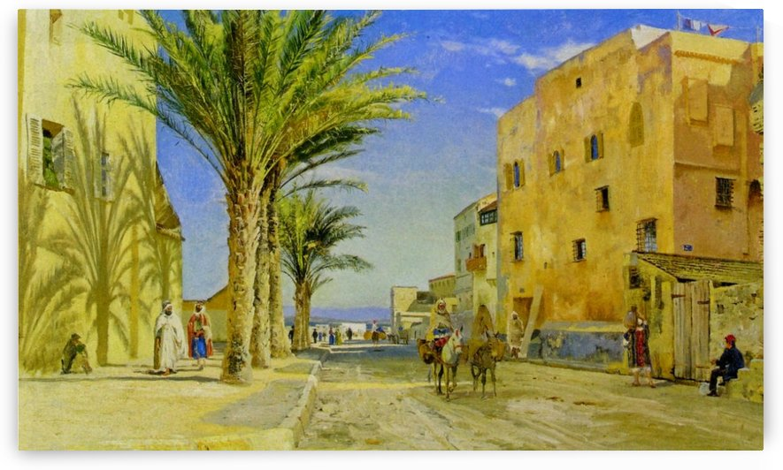 A sunny day in an oriental city with figures and trees by Peter Mork Monsted