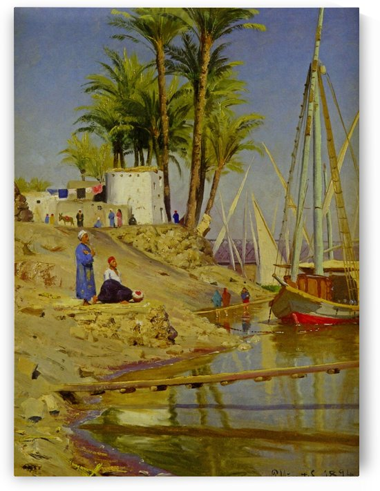View of Cairo with figures near water by Peter Mork Monsted
