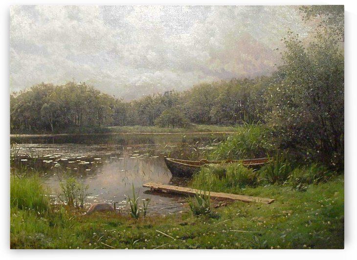 Small boat on pond near a dock by Peter Mork Monsted
