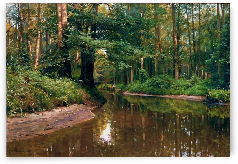 Small boat with figure along the stream by Peter Mork Monsted