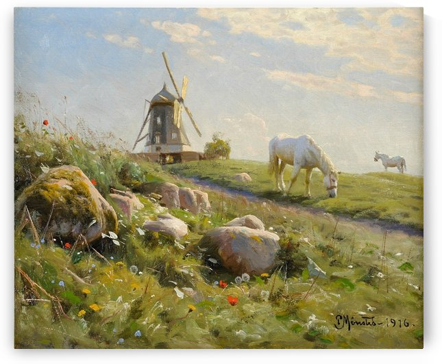 Sunny landscape with a windmill and two horses by Peter Mork Monsted