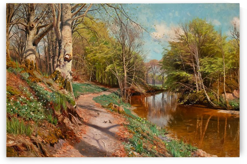 Spring landscape with anemones and creek by Peter Mork Monsted