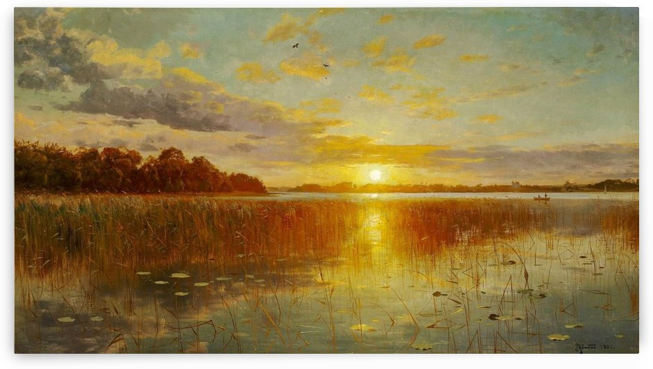 Sunset over a Danish fjord by Peter Mork Monsted