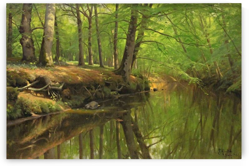 Sunny trees with rocks along the stream by Peter Mork Monsted
