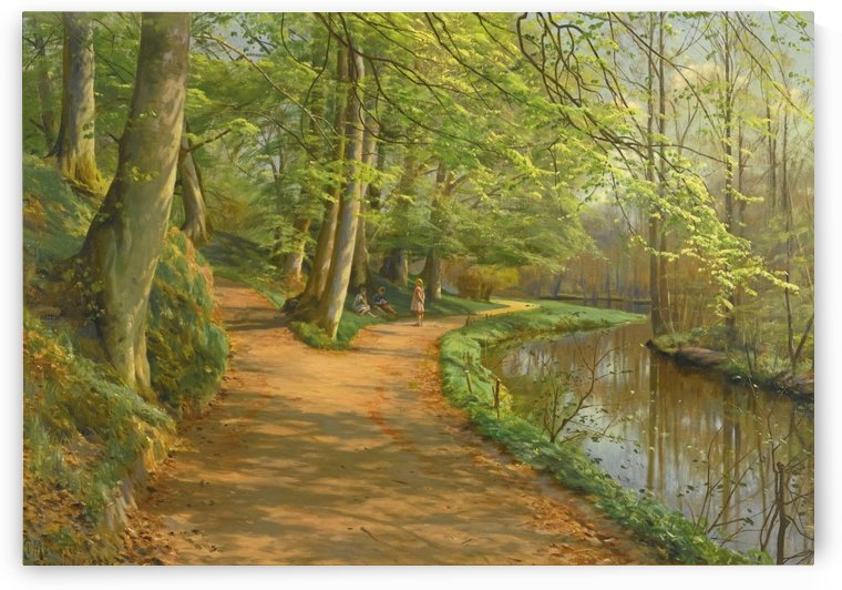 Kids talking on a path along the stream by Peter Mork Monsted