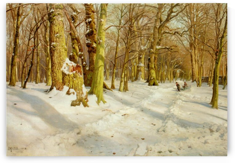 Children walking to snow playground by Peter Mork Monsted