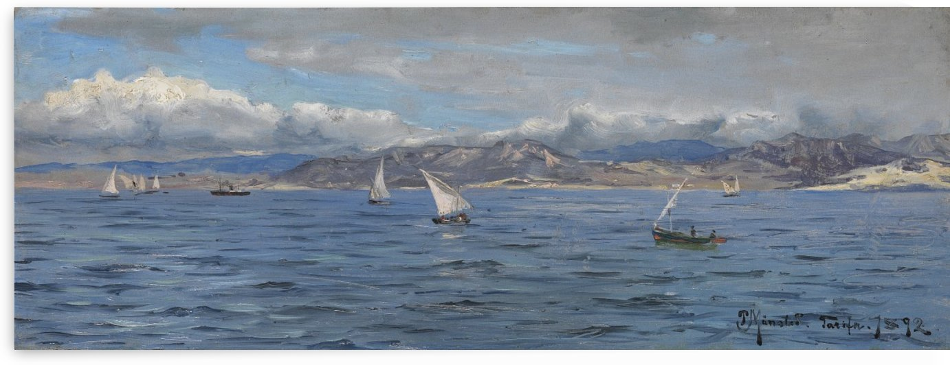 Sailboats in Gibraltar in 1892 by Peter Mork Monsted