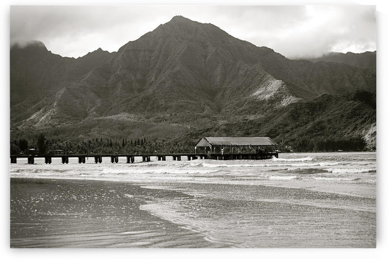 Hawaii, Kauai, Hanalei Bay And Pier At Sunset, Black And White. by PacificStock