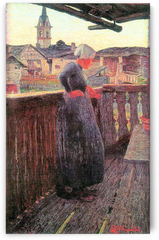 On the balcony by Segantini by Segantini