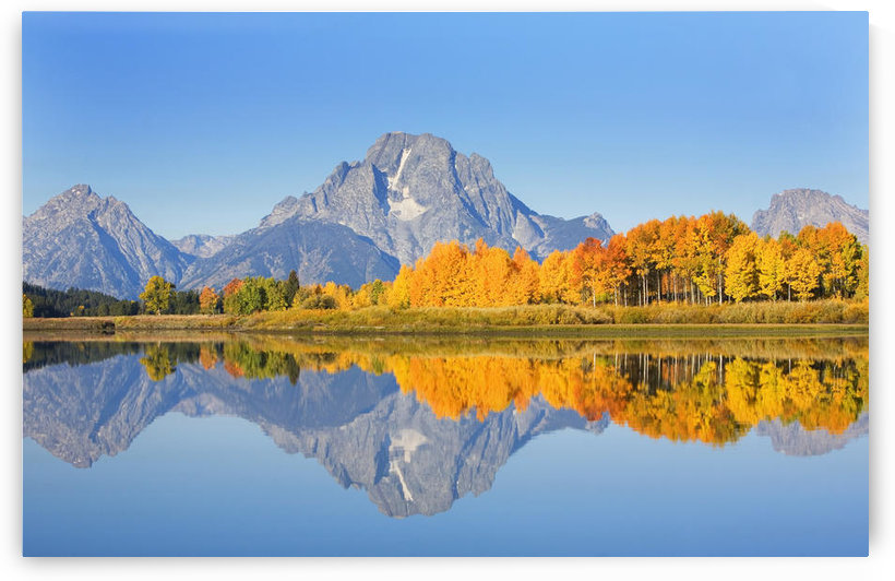 USA, Grand Teton National Park; Wyoming, Mount Moran In Distance, Landscape Of Oxbow Bend On Snake River by PacificStock