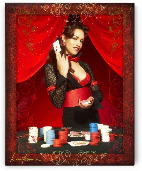 Lou Freeman©  Vintage Pin Up Girl  Card Dealer by Lou Freeman