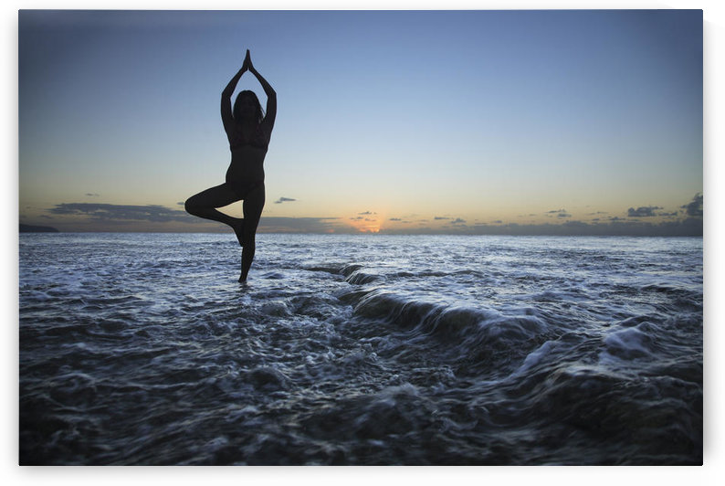 Hawaii, Oahu, Fit Young Girl On The Beach Doing Yoga On The Rocky Coastline. by PacificStock