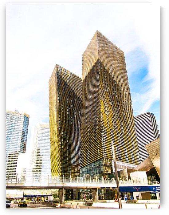 twin yellow buildings at Las Vegas, USA by TimmyLA