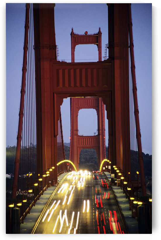 California, San Francisco, Golden Gate Bridge, Blurred Traffic Lights At Evening. by PacificStock