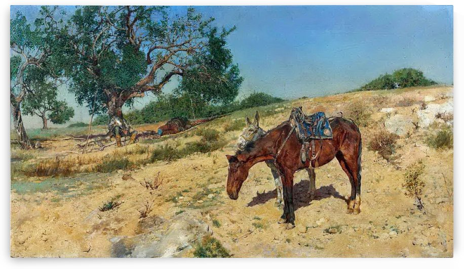 People and horses resting by Jose Moreno Carbonero