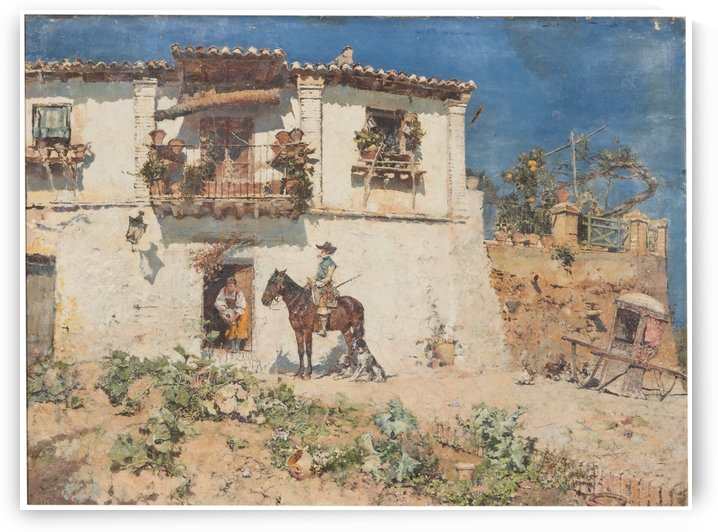 A man on his horse returning home by Jose Moreno Carbonero