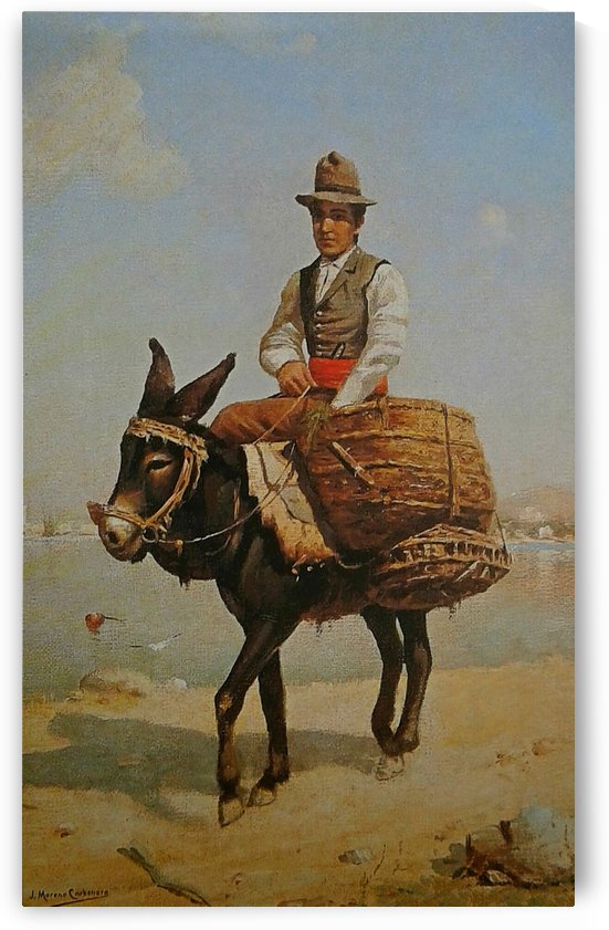 A man riding a donkey by Jose Moreno Carbonero