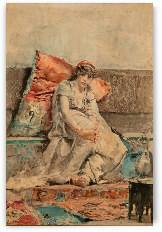 A young woman resting by Jose Moreno Carbonero