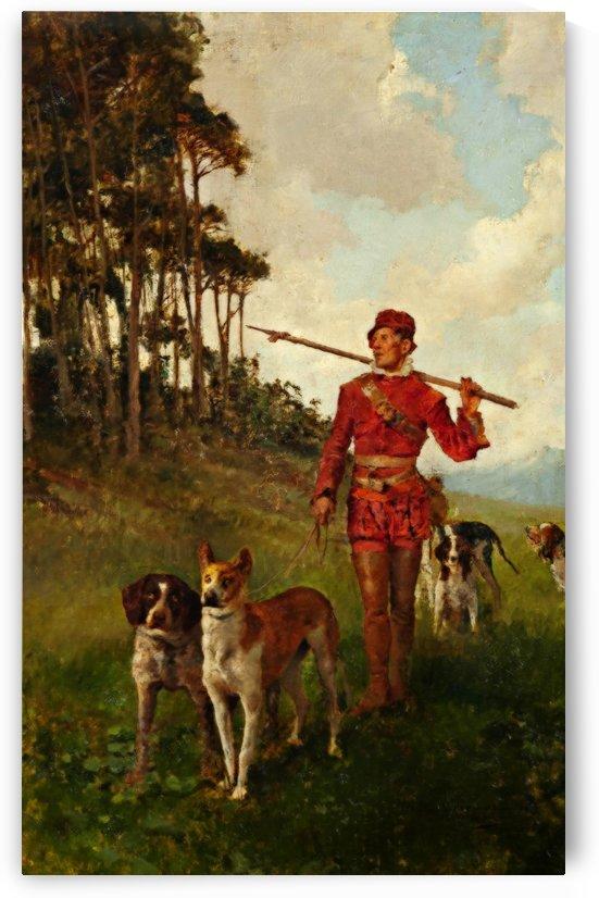 Montero con perros by Jose Moreno Carbonero
