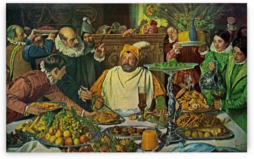 Festin de Sancho en la insula de Barataria by Jose Moreno Carbonero