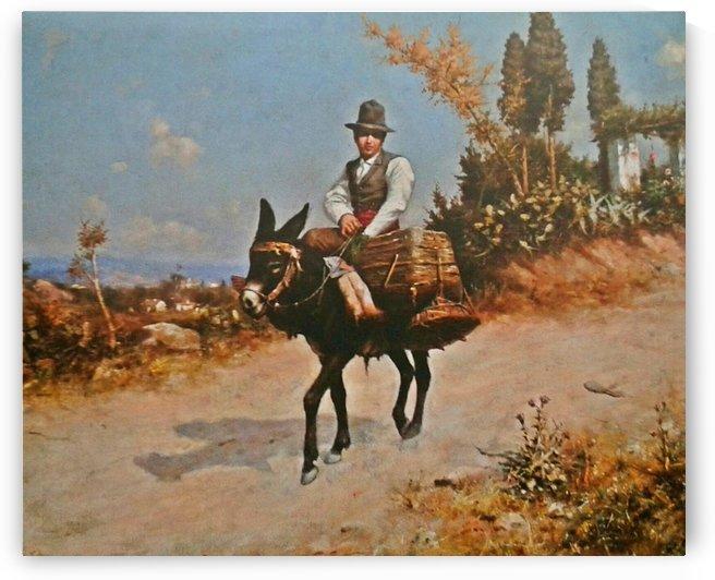 Traveling on a donkey by Jose Moreno Carbonero