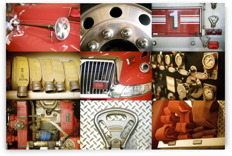 Hawaii, Collage Of A Red Firetruck And All Its Components. by PacificStock