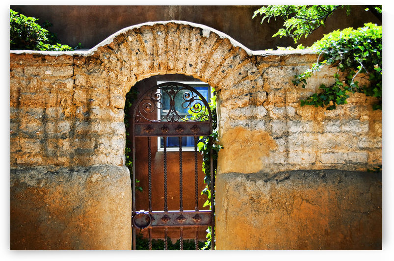 New Mexican Doors, New Mexico, Details Of Old Stone Doorway And Garden. by PacificStock