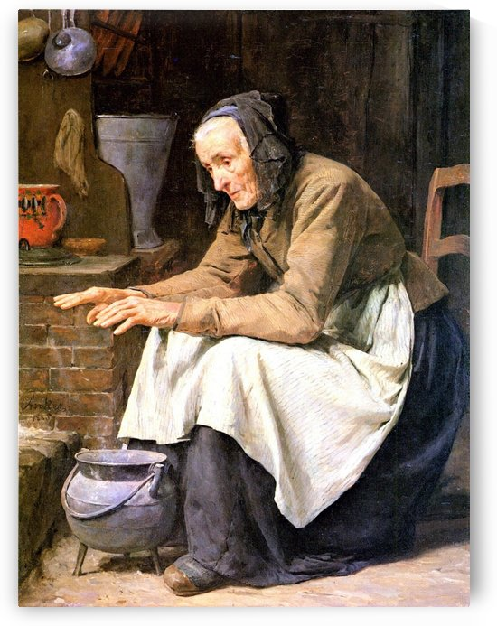 An old woman warming up by Anker Albert