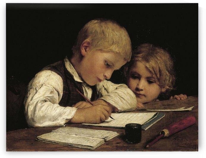 Schreibender Knabe mit Schwesterchen by Anker Albert