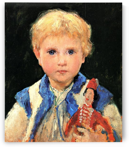 A young boy and his puppet by Anker Albert