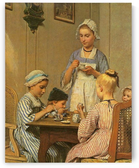 Children eating with their mother by Anker Albert