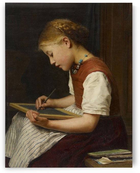 A young girl writing by Anker Albert