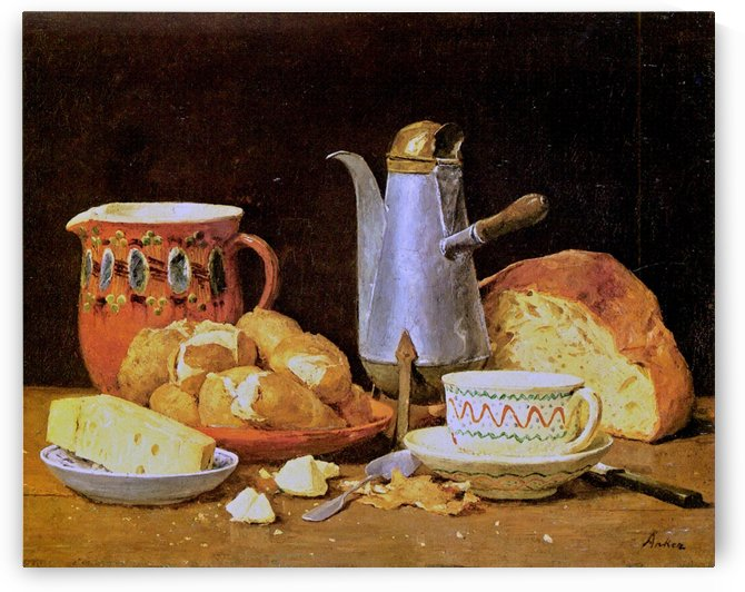 Still-Life with Coffee, Bread and Potatoes by Anker Albert
