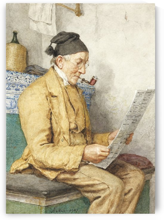 An old man smoking and reading the newspaper by Anker Albert