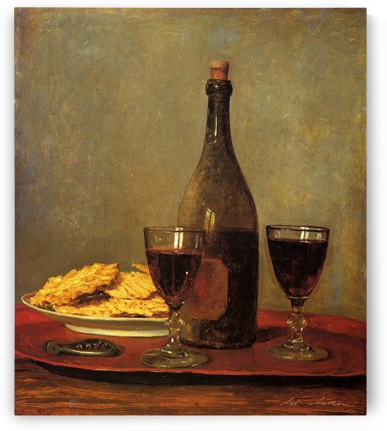 Potatoes and a glass of wine by Anker Albert