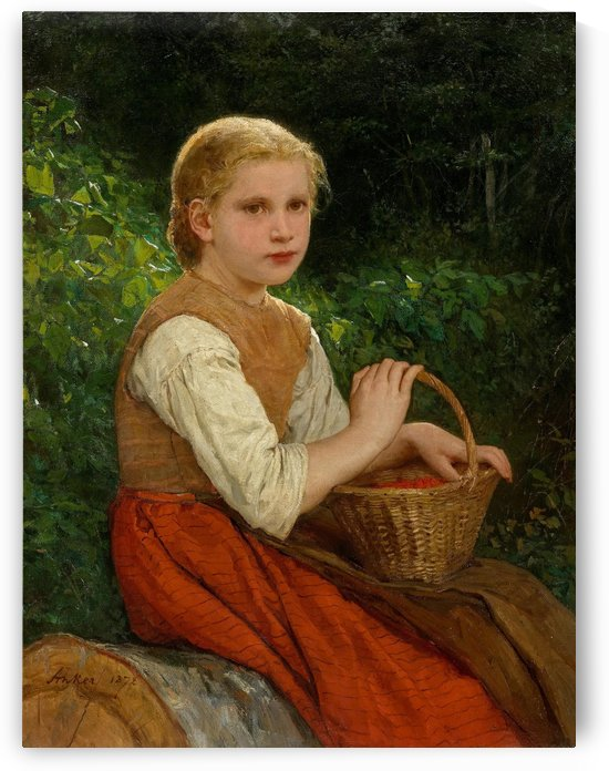 A girl with a baschet of fruits by Anker Albert